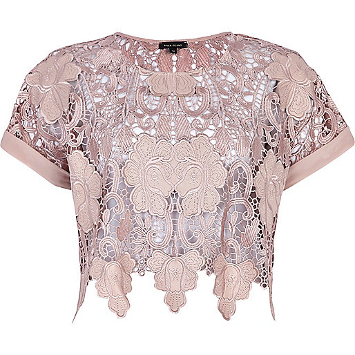 Light pink lace crop top