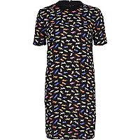 Black Chelsea Girl safari print shift dress