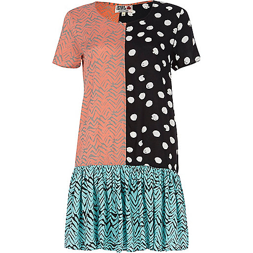 Coral Chelsea Girl mixed print dress