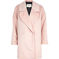 Pale pink oversized wool coat