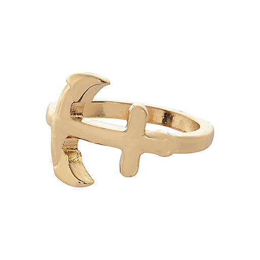 Gold tone anchor midi ring