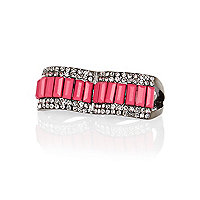 Pink gem stone statement double finger ring