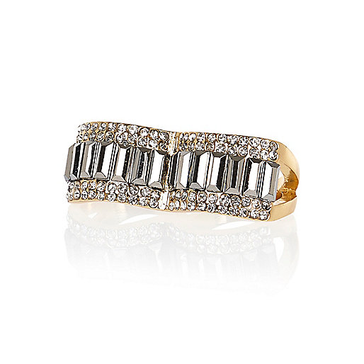 Gold tone embellished double finger ring