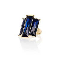 Navy triple stone cocktail ring