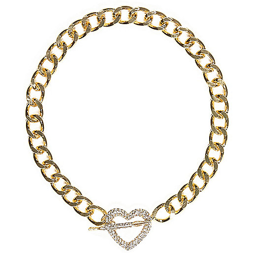 Gold tone diamante heart and arrow necklace