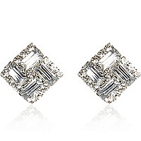 White diamante square stud earrings