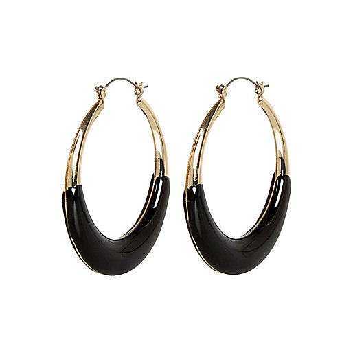 Black bottom hoop earrings