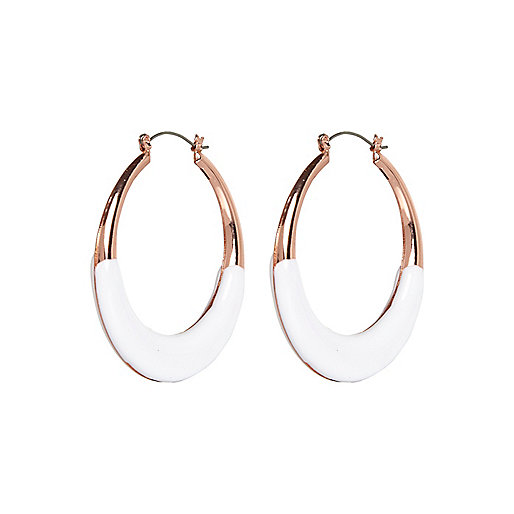 White bottom hoop earrings