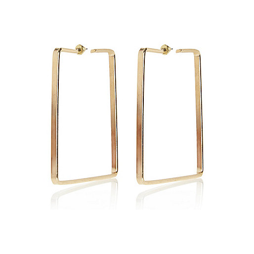 Gold tone square hoop earrings