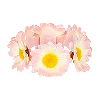 Light pink flower bun top hair garland