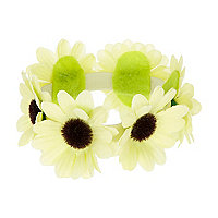 Yellow flower bun top hair garland