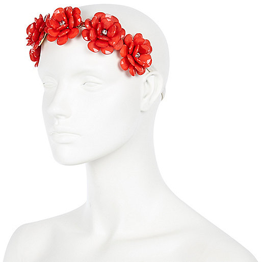 Coral retro floral hair band