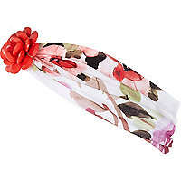 White floral flower front hair band
