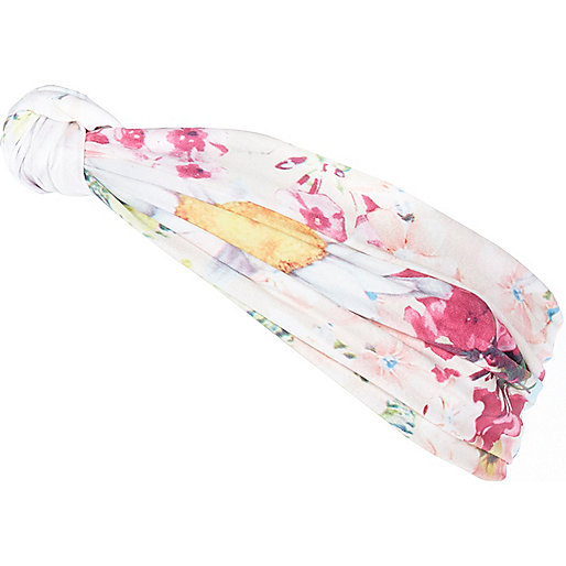 Cream floral print head band