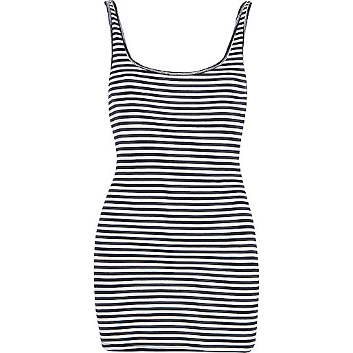 Navy stripe scoop neck vest