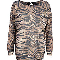 Brown animal print bow back dolman top