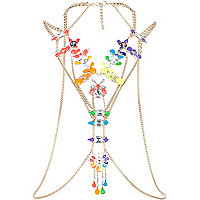 Gold tone multicoloured gem body harness
