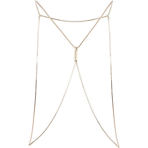 Gold tone slinky chain body harness