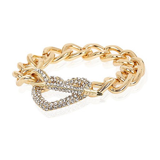 Gold tone diamante heart and arrow bracelet