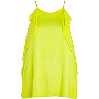 Lime frill trim longline cami top