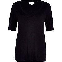 Black oversized V neck t-shirt
