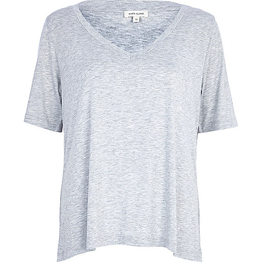 Grey marl oversized V neck t-shirt