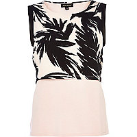 Pink palm leaf print 2 in 1 shell top