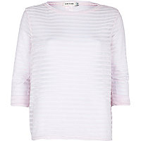 Light pink stripe vent back top