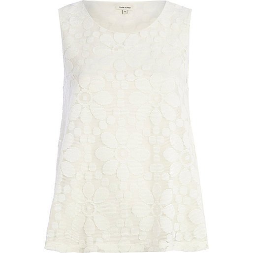 Cream daisy lace shell top