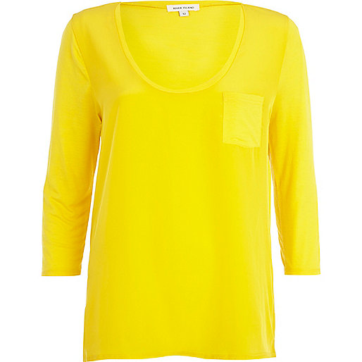 Yellow woven front low scoop t-shirt