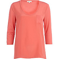 Pink woven front low scoop t-shirt