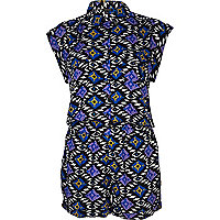 Blue aztec print smart shirt playsuit