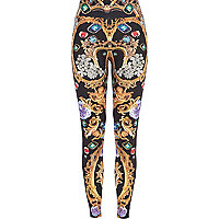 Black jewel baroque print leggings