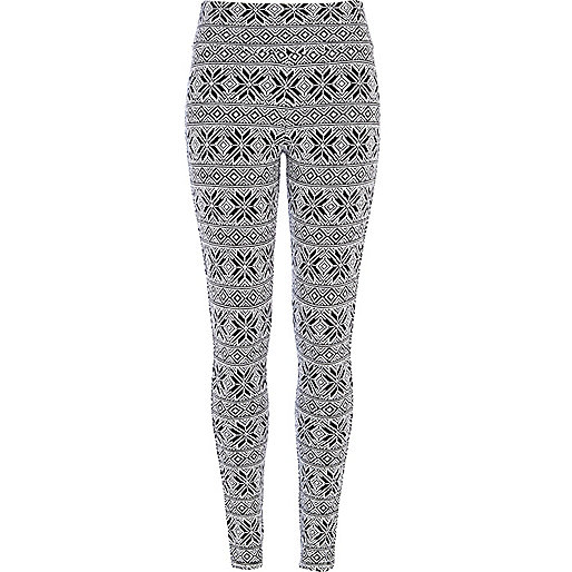 Black and white snowflake leggings