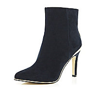 Navy metal trim stiletto ankle boots