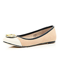 Light pink RI trim ballet pumps