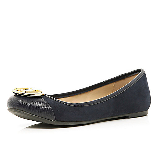 Navy blue RI trim ballet pumps