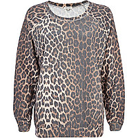 Brown leopard print sweatshirt