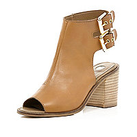 Tan cut out block heel shoe boots