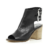 Black cut out block heel shoe boots