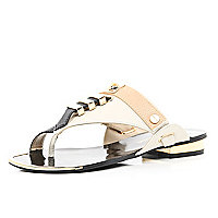 Beige metal trim toe loop sandals