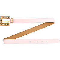 Light pink studded buckle belt