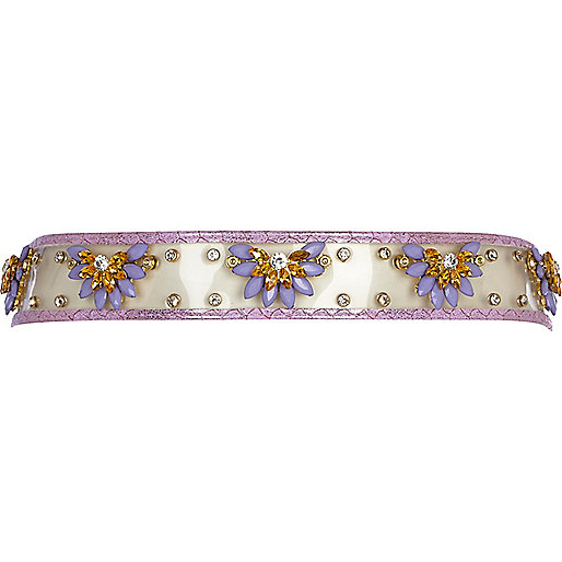 Purple perspex embellished waist belt