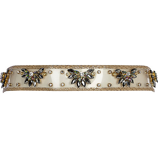 Gold perspex embellished waist belt