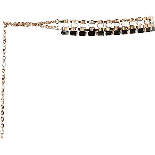 Gold tone enamel chain belt