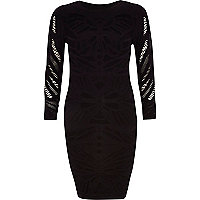 Black crochet sheer sleeve bodycon dress
