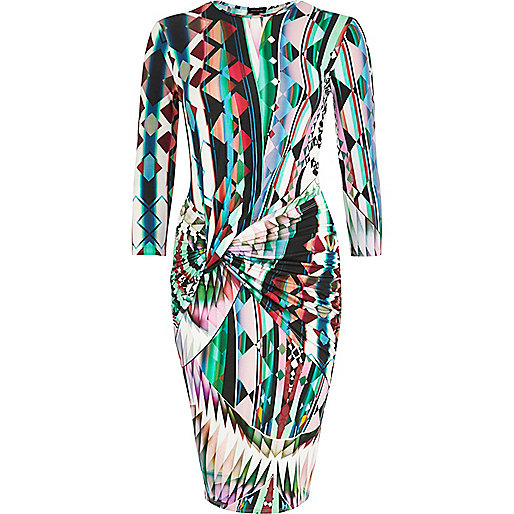 Multicoloured geometric print knot dress