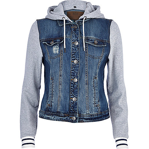 Mid wash contrast jersey sleeve denim jacket