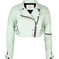 Light green croc panel cropped biker jacket