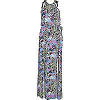 Blue tropical print split maxi dress